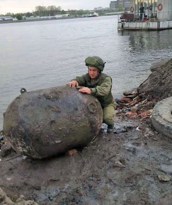 A Huge Mine Washed Ashore in St.Petersburg