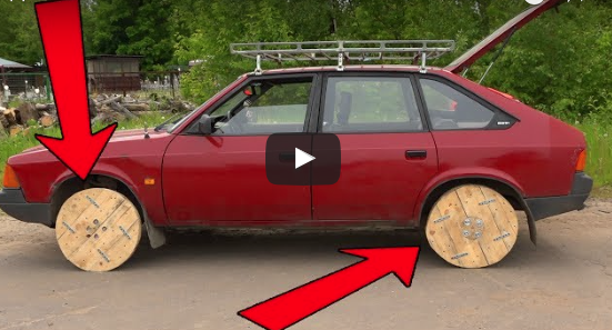 Russian Man Puts Wooden Wheels on His Car [video]