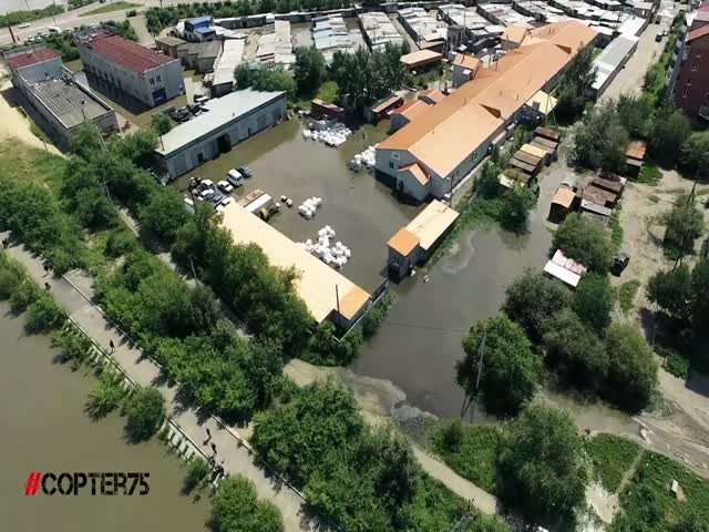 Biggest Flood in Chita, Russia, Drone Video