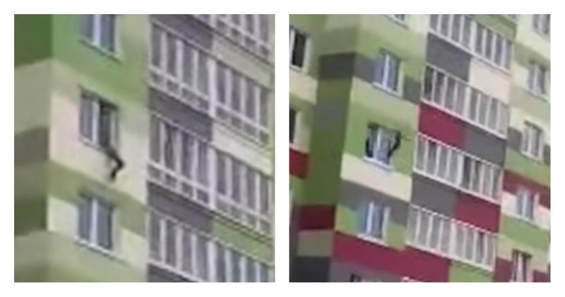 Caught Kid Fell Out of Window on 7th Floor [video]
