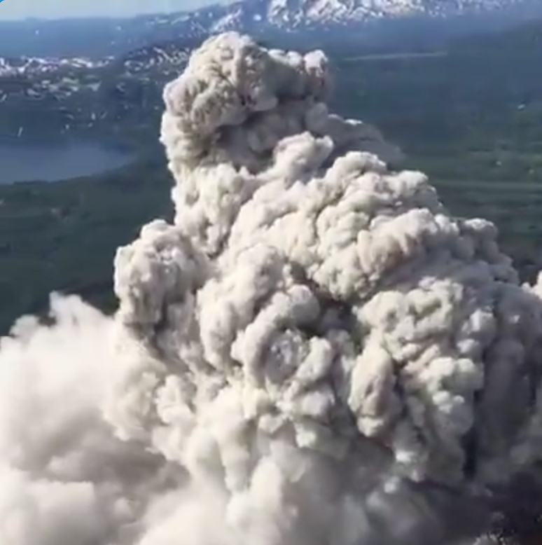 Volcano Erupting in Russia Helicopter Video