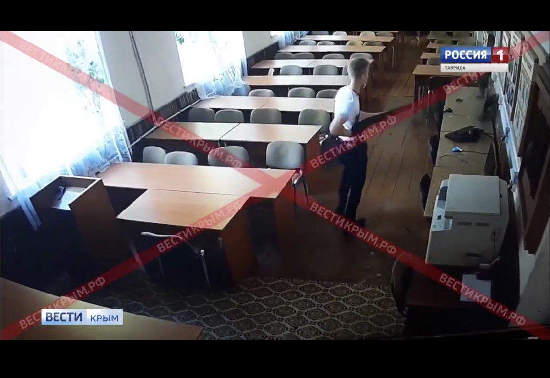 New Shocking 5 Min Video of a Kerch College Shooter Roaming thru the School Building
