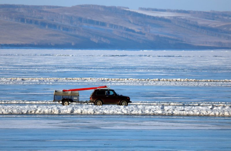 Fearless Ice Crossing In Siberia