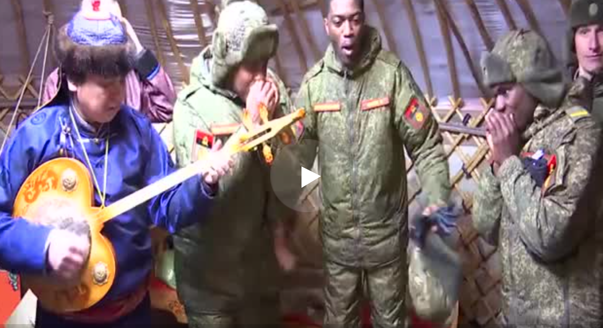Angola Soldiers and Russian Siberian Shamans Perform Together [video]