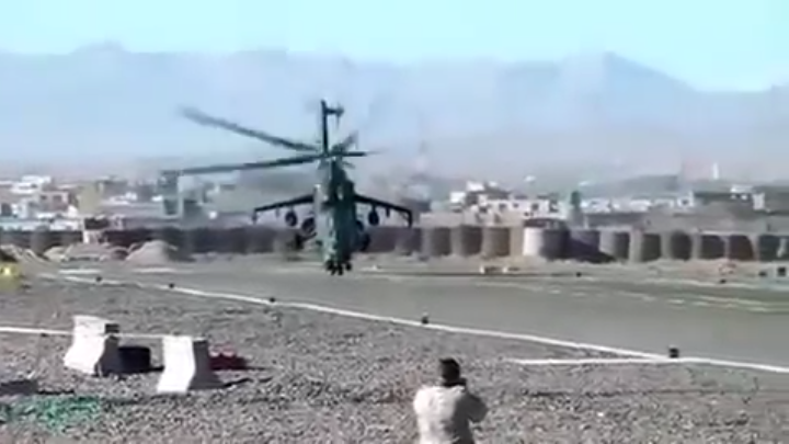Spectacular Vertical Takeoff of Mi24 Helicopter