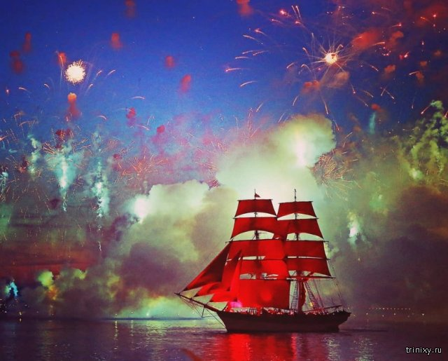 Scarlet Sails Over the Neva River