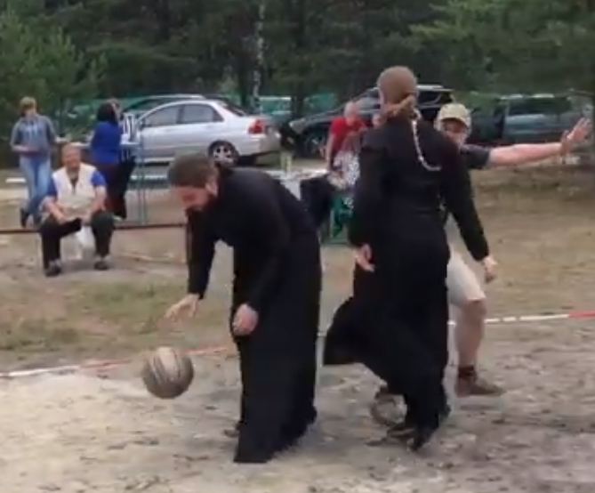 Priests Playing Steetball