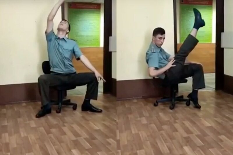"Russian Soldier Performs a ""Hot Dance"" For His Buddies"