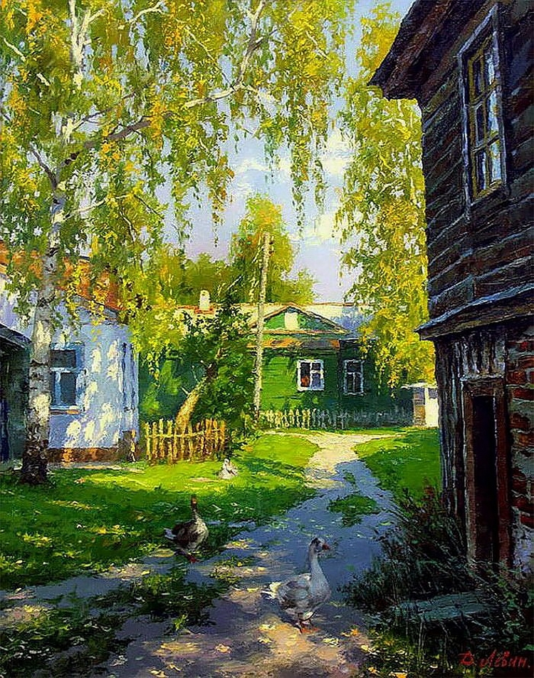 Russian Village Landscape Painted By Dmitry Levin