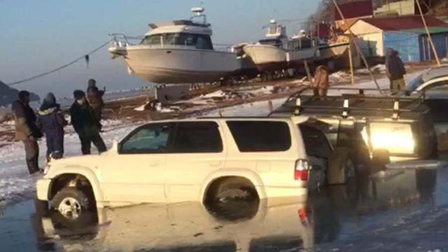 Thirty Cars Fall Through the Ice In Vladivostok