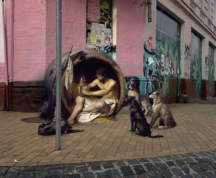 Герои известных картин на фотографиях обычных мест (21 фото)