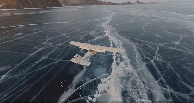 Plane Lands On Amazingly Beautiful Lake Baikal