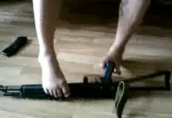 Assault Rifle AK-74 Assembled and Disassembled With Legs