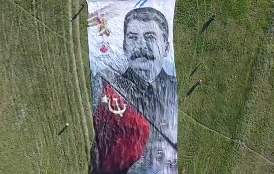 Huge Stalin's Portrait Flying Over the Crimea