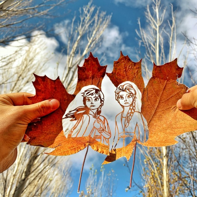 Artist From Kazakhstan Makes Amazing Works From Fallen Leaves