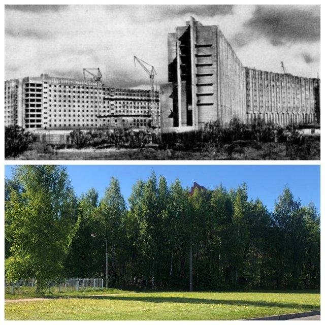 Строительство больницы на проспекте Культуры/Клиническая Больница №122 им. Л.Г. Соколова.1982 и 2020 год.