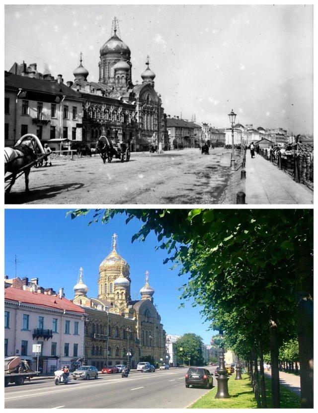 Николаевская наб./ Набережная Лейтенанта Шмидта.1907 и 2020 год.