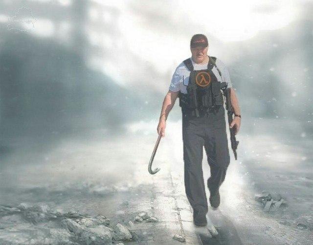 Александр Лукашенко с автоматом - герой Half-Life