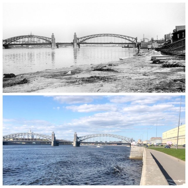 Большеохтинскмй мост.1965 и 2020 год.
