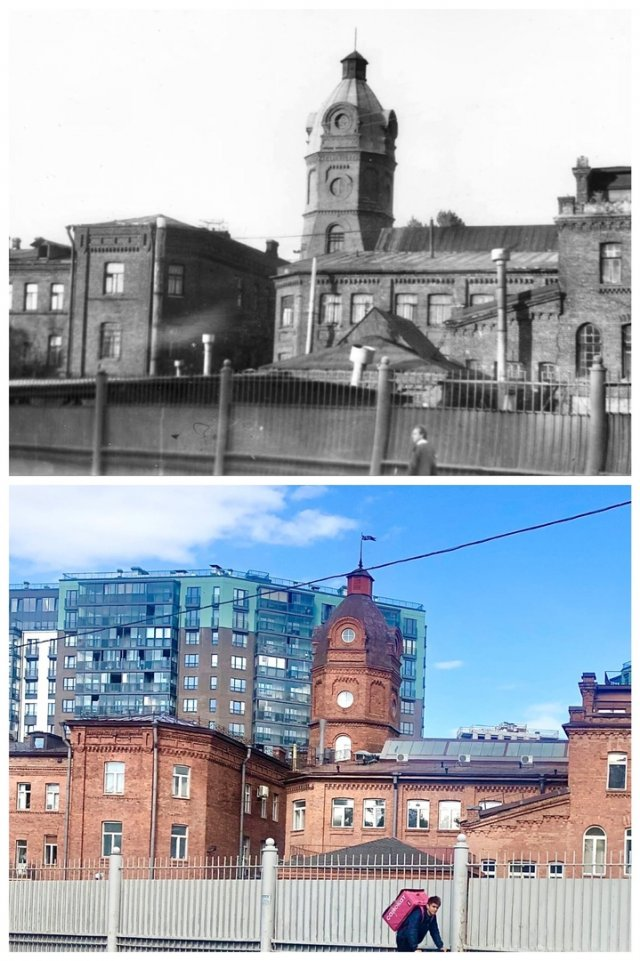 Вид с проспекта Шаумяна на башню НПО «Знамя труда».1990 и 2020 год.