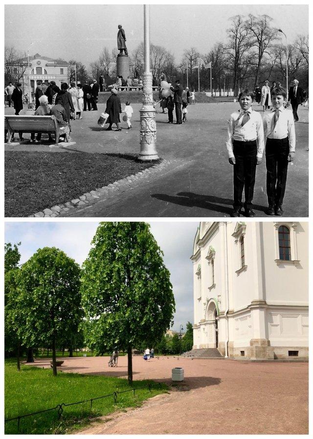 На Соборной площади в Пушкине.1986 и 2020 год.