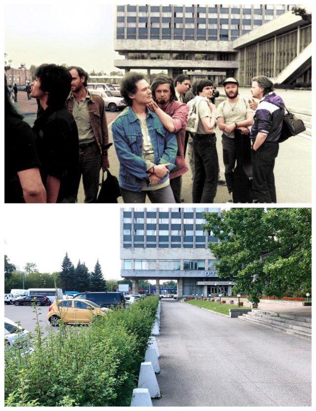 Цой, Титов, Гребенщиков около здания ЛДМ.1987 и 2020 год.