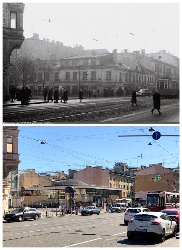 Угол Среднего проспекта В.О. И 7-й линии.~1960 и 2020 год.