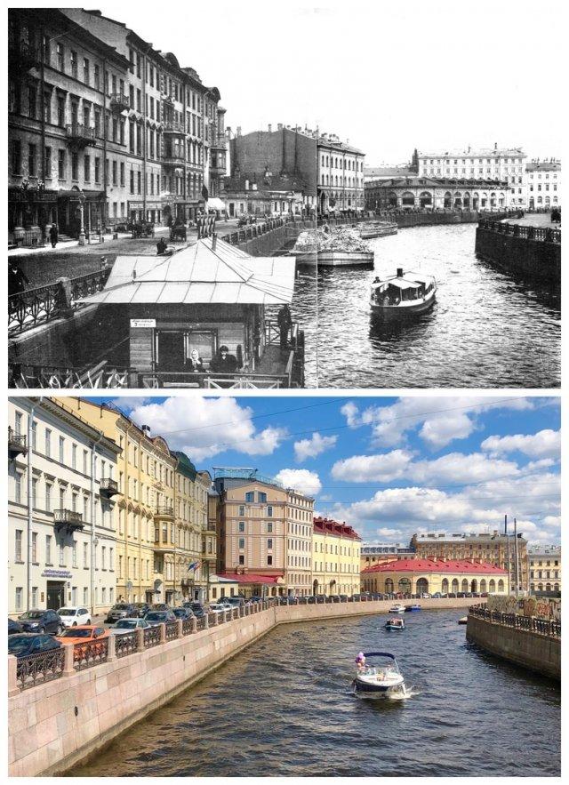 Вид с Большого Конюшенного моста на Круглый рынок.~1905 и 2020 год.