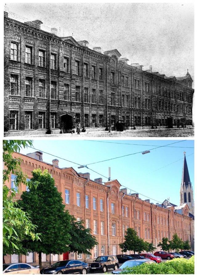 Елисеевскся Богадельня на Васильевском острове/Санкт-Петербургский колледж телекоммуникаций.~1910 и 2020 год.
