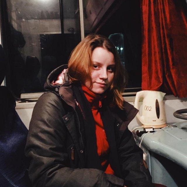 Екатерина Сергеева едет на поезде