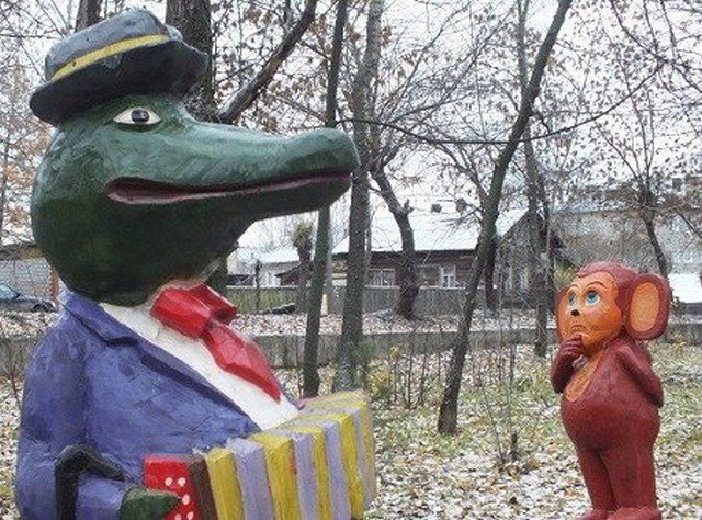 Gena And Cheburashka: Nightmarish Decorations of Russian Yards