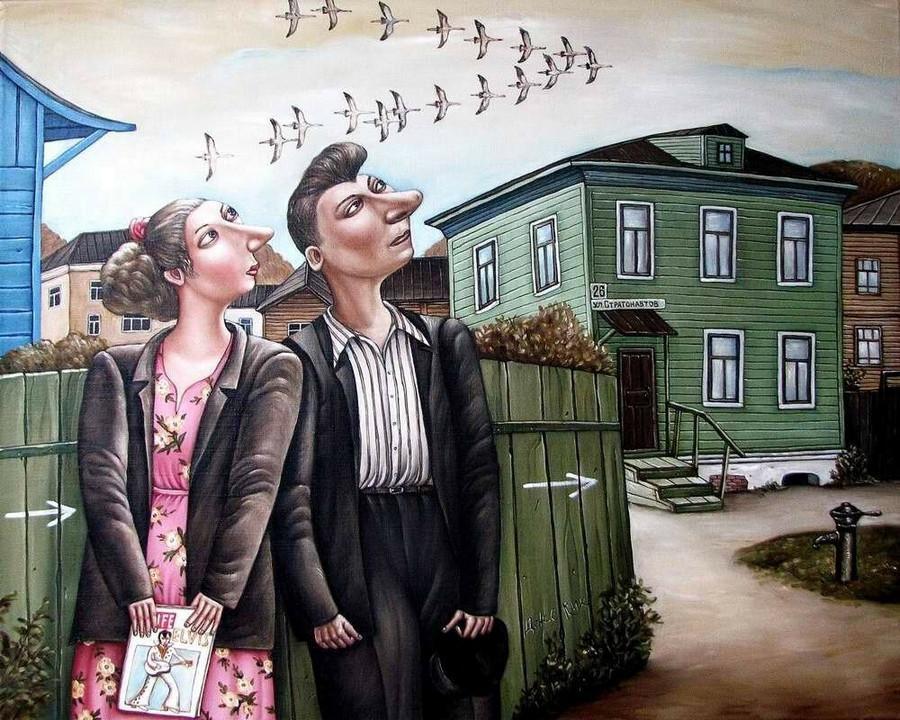 Картины Анжелы Джерих: добрая ирония в советском духе 21
