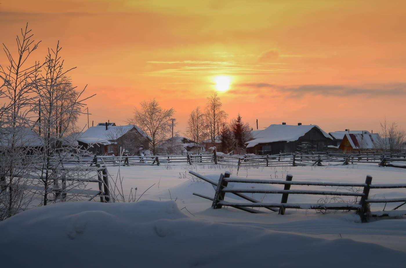 Russian Village: Cold And Silent