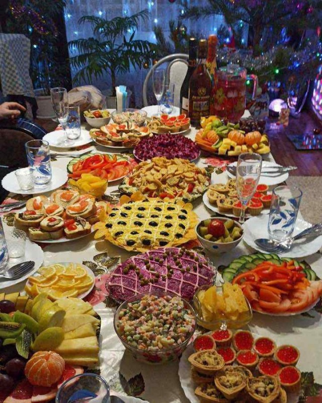 Typical Russian New Year's Table