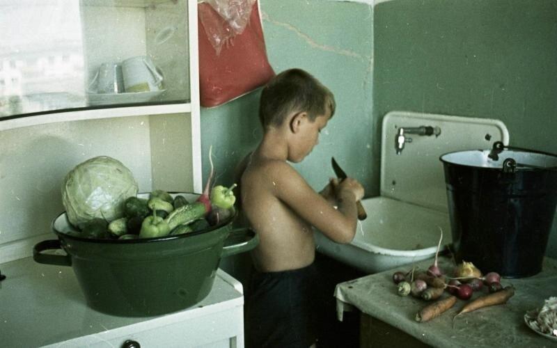Мальчик на кухне Всеволод Тарасевич, 1967 год, Волгоградская обл., г. Волжский, МАММ/МДФ.