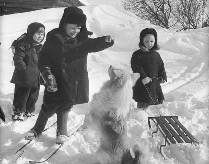 Зимние забавы советских ребятишек. Сколько снега на этом фото, а детям все не ни почём. Фото взято из открытых источников: fishki.net