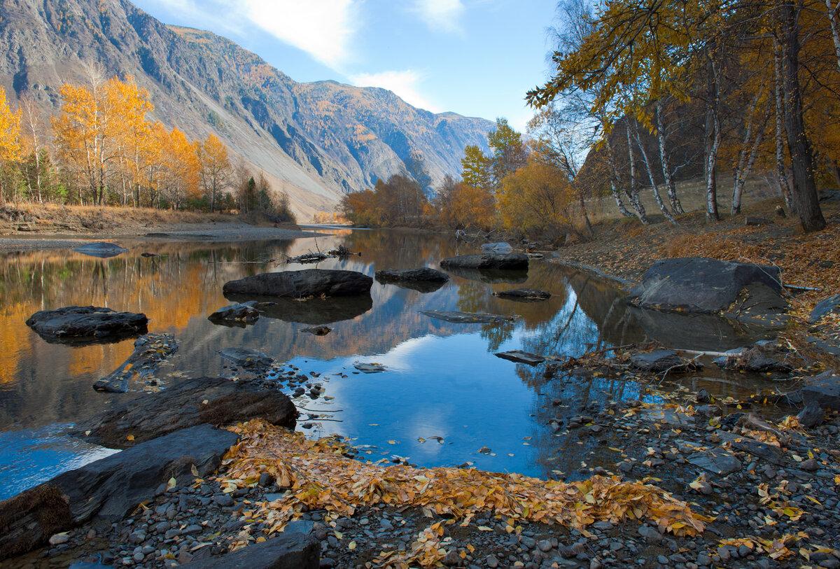 9. Осенние отражения в низовьях Чулышмана восхитительны! Обожаю фотографировать в это время года на Алтае!