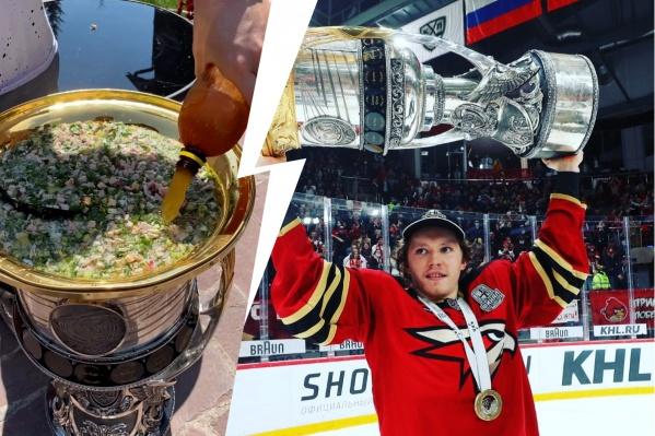 "Russian Hockey Player Enjoys ""Okroshka"" Soup From a Trophy Cup"