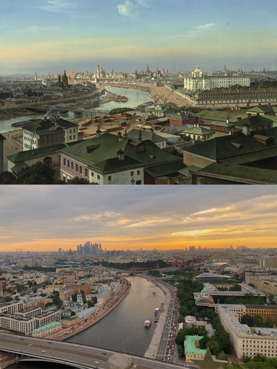 Moscow Panoramas: Old Days Vs. Now