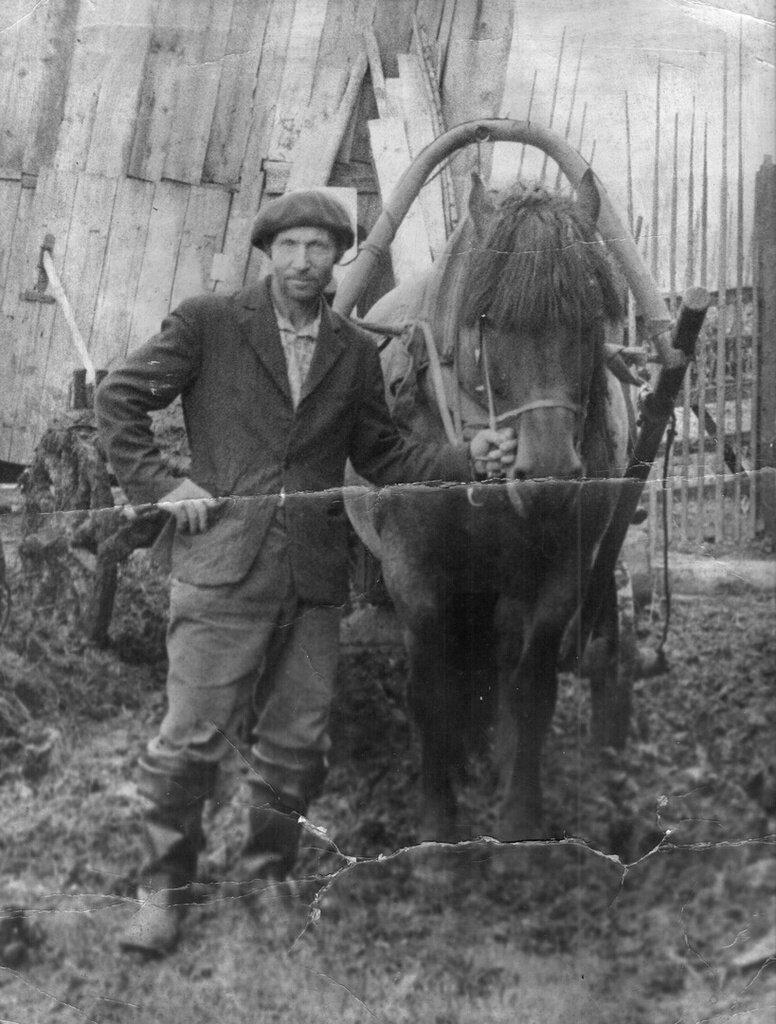 Во дворе с лошадью. Неизвестный автор, 1975 - 1978 год, Калининская об., дер. Берниково, из архива Дениса Тюленева.
