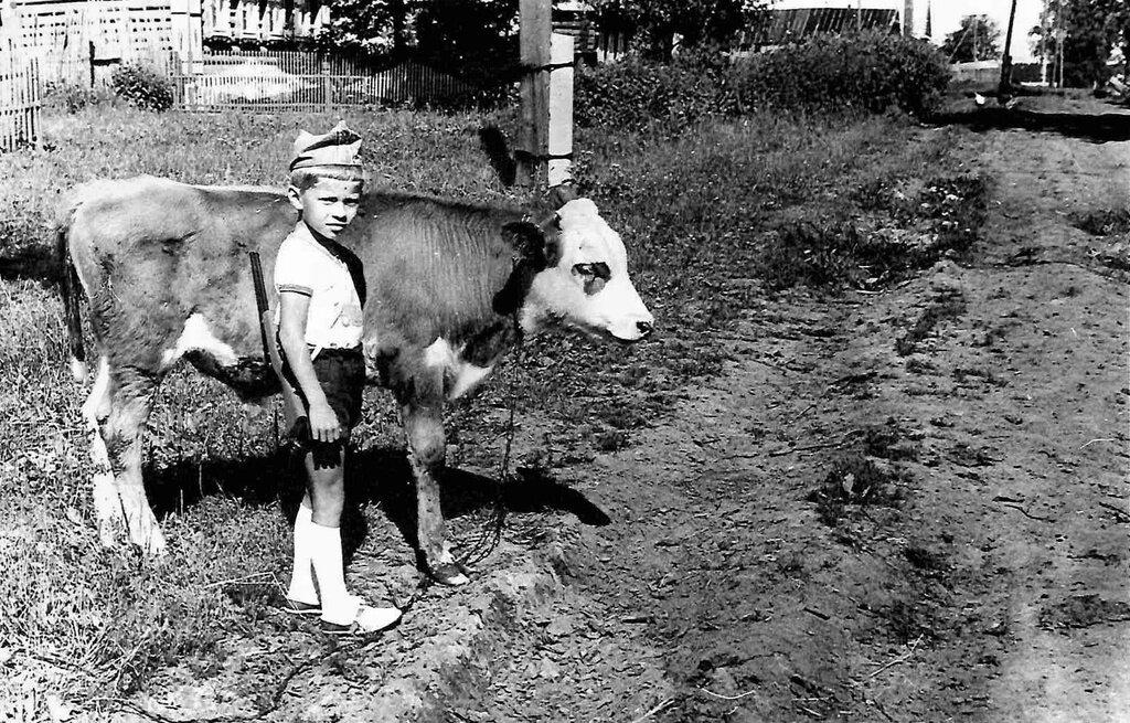 Маленький пастух. Неизвестный автор, 1976 - 1978 год, Калининская обл., дер. Берниково, из архива Дениса Тюленева.