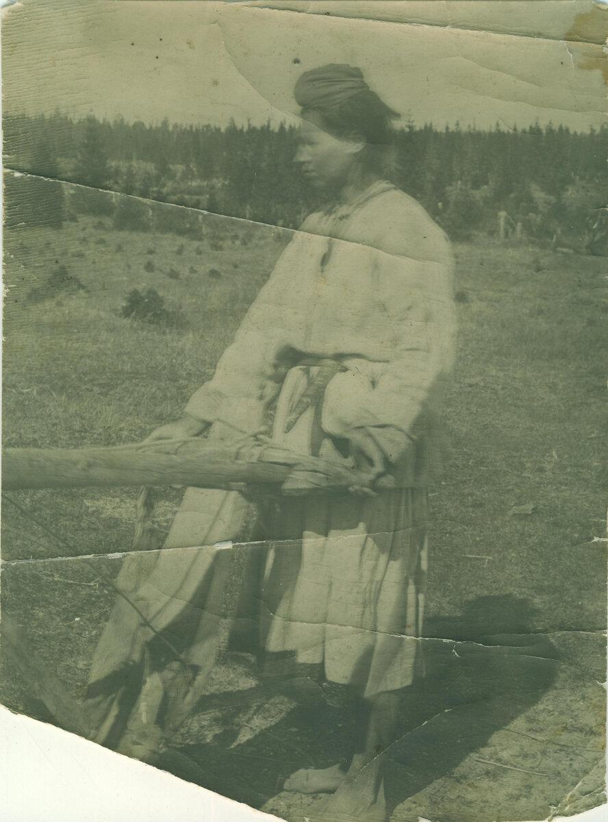 Томский Илья Иванович. Фото. Крестьянка у сохи. 1921 г.