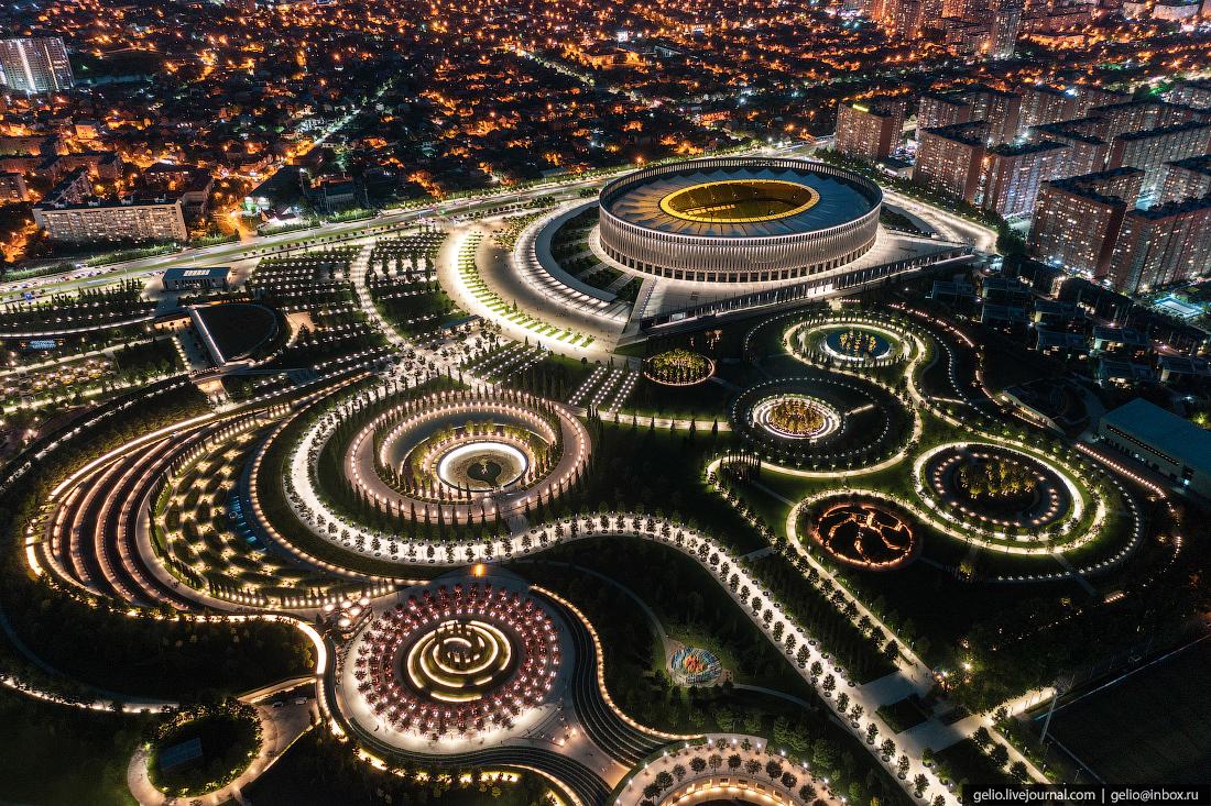 парк галицкого, парк краснодар, с высоты, подсветка