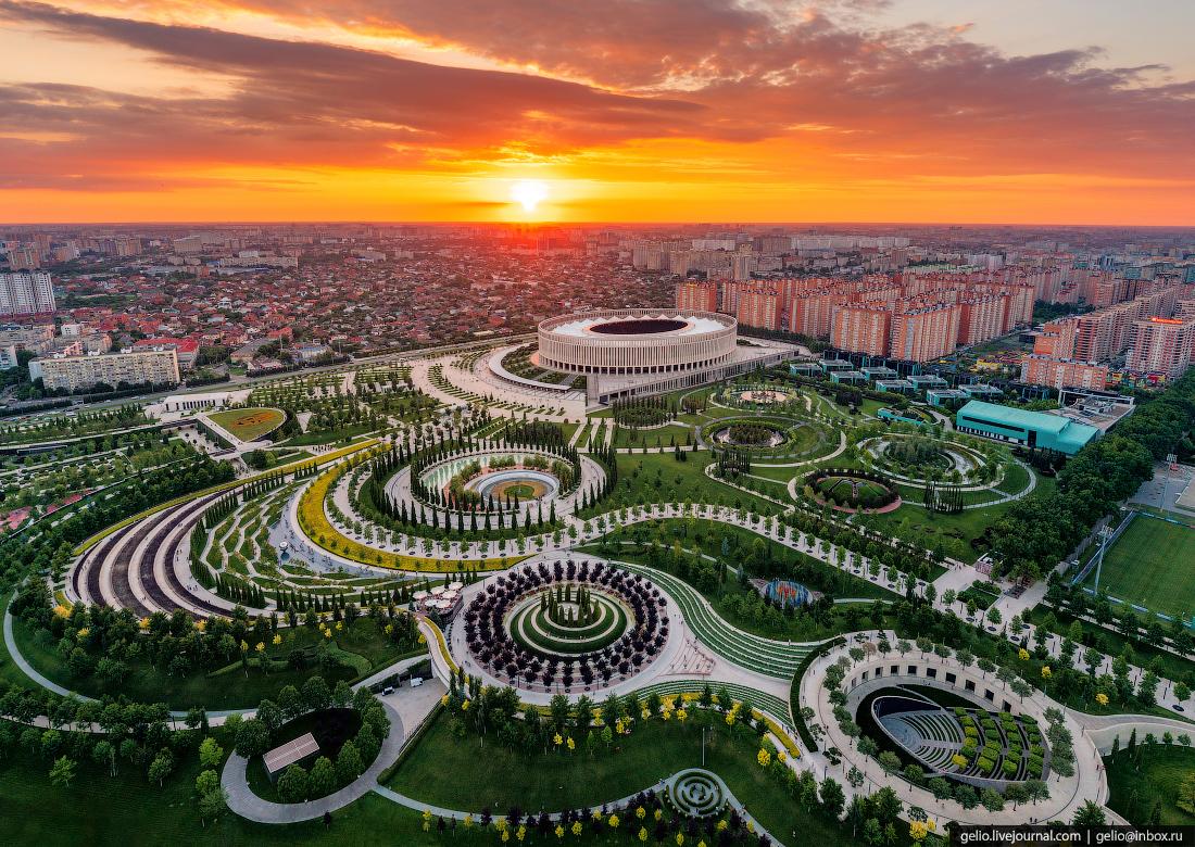 парк галицкого, парк краснодар, фонтаны, с высоты