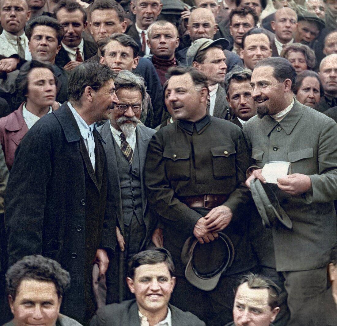 1930 г. И.В. Сталин, М.И. Калинин, К.Е. Ворошилов, Л.М. Каганович.